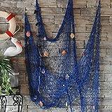Cyfie Red de Pesca Decorativa, Estilo Mediterráneo Cosido a Mano (Azul)