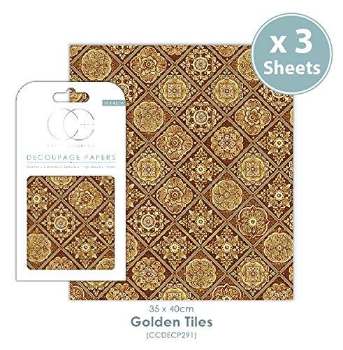 Craft Consortium Premium Decoupage Papier–Golden Fliesen (Papier Fliesen)
