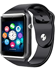 10WeRun M9 Bluetooth Smart Watch for Men Boys Kids Girls Compatible with All Android Phone (Black)