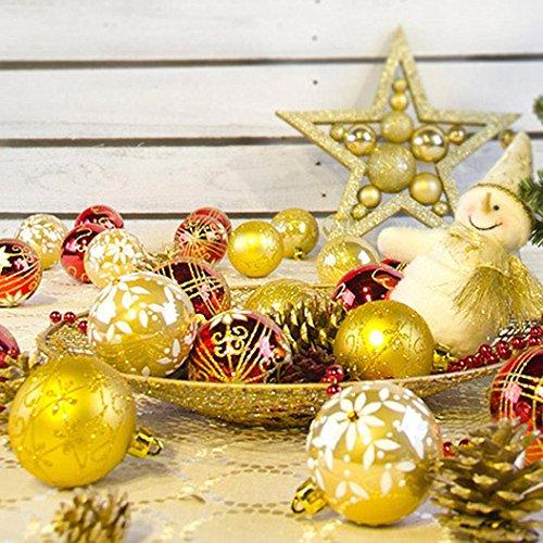 Palle e palline di Natale,Kword 24Pc Natale Albero Natale Palloni Decorazioni Ninnoli, Festa Di Nozze Ornamento 6Cm, Oro, Rosso, Argento, Indoor E Outdoor Decorazioni