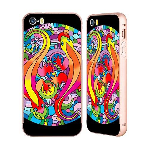 Ufficiale Howie Green Astratto Cerchio Oro Cover Contorno con Bumper in Alluminio per Apple iPhone 5 / 5s / SE Salamandre