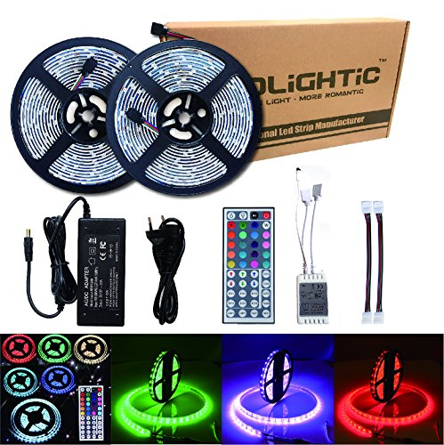RoLightic LED Streifen Wasserdicht 10M (2 x 5M) 5050 Led Strip Light, RGB Farbe Change Lichtkette Licht Strip Mit + 44 keyTasten IR Fernbedienung + 5A EU (Aquarium Diy Dekorationen)
