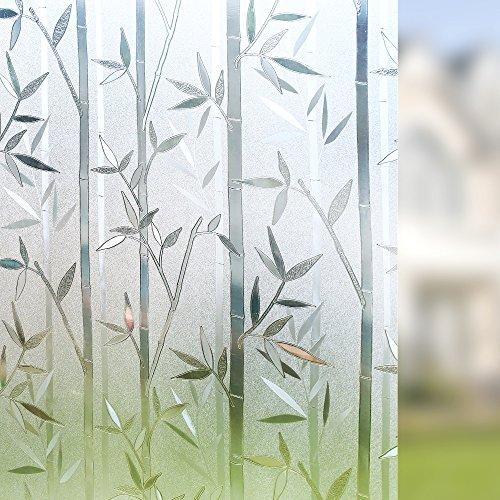 Rabbitgoo 3D Statisch Haftende Fensterfolie Bambus Dekofolie Sichtschutzfolie Fensterschutzfolie Selbsthaftend Anti-UV Upgrade Version 60*200cm