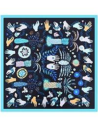 SAFZES Echarpe 60cm en Soie Nouvelle Palme Jungle Yeux Dames Petites  écharpes carrées Couverture Cape Wrap a79eb478757