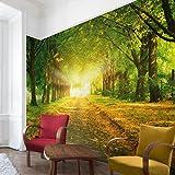 Apalis Vliestapete Autumn Avenue Fototapete Breit | Vlies Tapete Wandtapete Wandbild Foto 3D Fototapete für Schlafzimmer Wohnzimmer Küche | grün, 98569