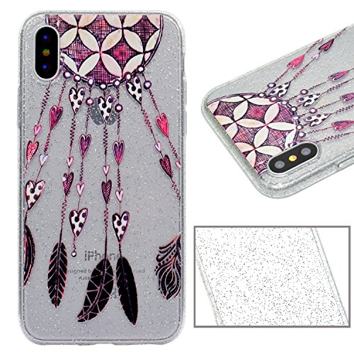 Custodia per iPhone X,Transparente Cover per iPhone X,Leeook Creativo Luccichio Brillante Panda Disegno Transparente Chiara Antigraffio Antiurto Copertura Sottile Morbido Silicone Glitter Strass Cover Piuma Cuore