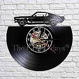 Lanlugg 1 Pieza Retro Car Automotive Reloj de Pared Hacer del Disco de Vinilo Reciclado Reloj de Pared Diseño Moderno Idea Fans de Coche