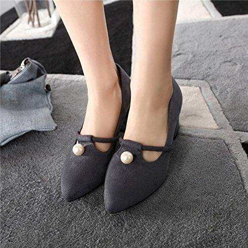Mee Shoes Damen chunky heels Nubukleder Geschlossen Pumps Grau