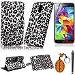 Traitonline 6IN1 Gris l�opard Ligne PU cuir portefeuille �tui Housse pour Samsung Galaxy S5 I9600 Coque Case Protection avec carte de cr�dit Slots + 3 * Protecteur d'�cran + stylo � �cran tactile + porte-cl�s