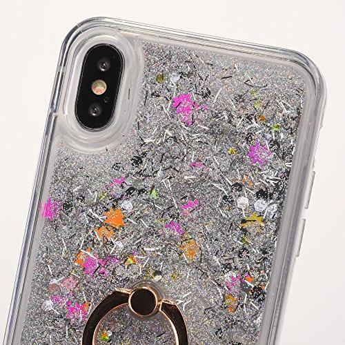 iPhone X Hülle,Mo-Beauty® Transparent Kreativ Design 3D Hard Case Liquid Bling Dynamisch Treibsand Flüssige Fließend Wasser Glitter Glitzer Glanz Sparkle Klar Hart Plastik Tasche Kristall Handytasche  Silber