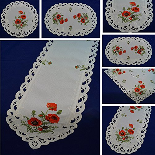 Tischdecke Läufer Mitteldecke in Oval Rund Eckig in der Farbe Creme mit Mohnblumen rot Bestickt pflegeleicht 9007-44562 FA.Bowatex (ca. 30 x 45cm oval)