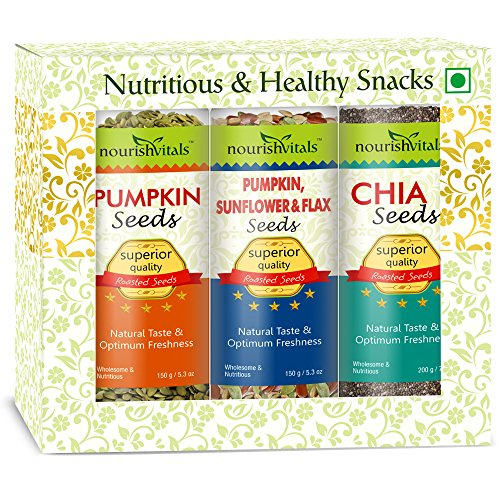 Nourish Vitals Diwali Gift Box - Roasted Pumpkin + Pumpkin, Sunflower & Flax + Chia Seeds (Superior Quality) Gift Box  available at amazon for Rs.1175