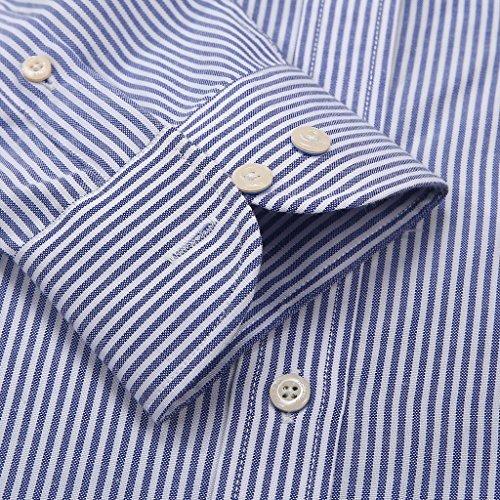 Janeo British Apparel di marca, Classic Windsor belle uomo camicia a righe, singolo e doppio polsino manica–Janeo mens Shirts Oxford Blue Denim (Oxford Casual)