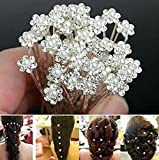 Cgt Bridal Pearl Flower Clear Crystal Rhinestone Hair Pins For women