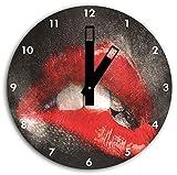 Red imagen Labios de reloj de pared con negro blunt las manos y la cara, de 30 cm de diámetro, decoración perfecta para su hogar, idea regalo estupendo para jóvenes y mayores