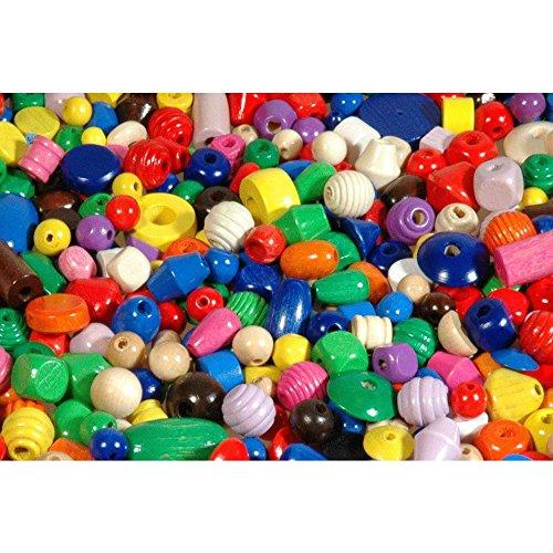 1000 Holzkugeln, Holzperlen, Holzwürfel farbig, Perlen aus Holz bunt in verschiedenen Farben und Größen (1-2cm), 1 kg