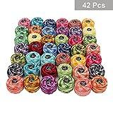 Häkelgarn 42 Teile und 2 Häkelnadeln - 2 Schattierungen Farbe Sortiert Baumwollgarn Fadengröße 8 Gewichte 5 g & 43 m Muster Strickprojekte und Nadelstickerei