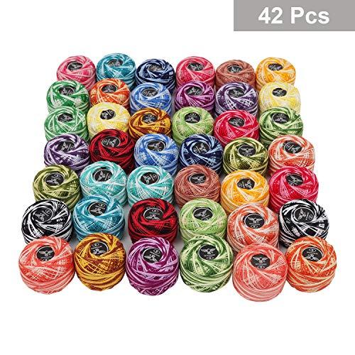 Kurtzy filo per uncinetto 42 pezzi e 2 ganci - sfere di filo di cotone 2 tonalità taglia 8 peso 5g e 43 metri - filo di colore assortiti per maglia, progetti per quilting e ricamo a mano