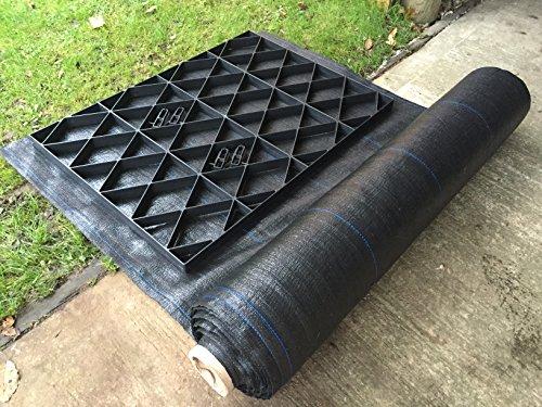 6 x 8 Grille Abri de jardin Base = Kit Eco de 1,85 m x 2,55 m + MEMBRANE très résistante en plastique Eco pavés bases & Allée grilles
