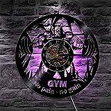 H&S Bodybuilding Schallplatte Wanduhr Fitness Sport Dekor Wanduhr Fitnessraum Bodybuilder Keine Schmerz Kein Gewinn für Fitness Gym Geschenk