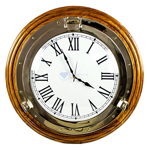 Nagina International Premium Nautical Porthole Brass Time's Clock on Solid Wood Base   Wall Decor   Pirates Maritime Gift (22 inches) (Brass Porthole Clock)