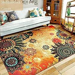 MeMoreCool Alfombra estilo boho retro para sala de estar, moda para el hogar exclusiva y colorida, elegante alfombra bohemia para decoración del hogar, lavable, Color 2, 52 inch by 75 inch