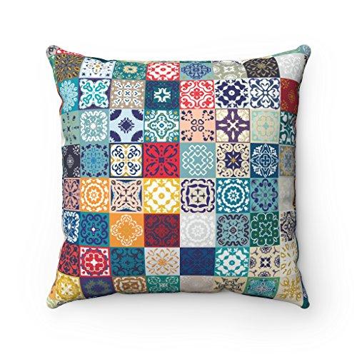 Kissenhülle, geometrisches, spanisch-marokkanisches Design in Fliesen-Optik, für Sofa / Bett, als Geschenk, spanisch-maurischer Kissenbezug, Blau, 43x