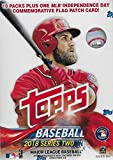 2018 Topps Baseball-Serie #2 ungeöffnete Blaster-Box mit 10 Packungen und Einem Exklusiven Independence Day Gedenkfahnen-Patch Karte und möglichen Shohei Otani Rookies