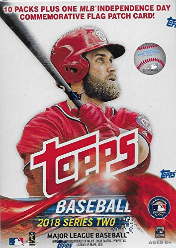 2018 Topps Baseball Series 2 Unopened Blaster Box With 10 Packs And One Exclusive Independence Day Commemorative Flag Patch Card And Possible Shohei