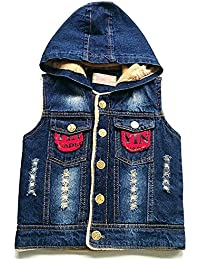1c8f6a2b7143 LJYH Toddler and Little Boy s Fashion Hooded Denim Vest With Fleece Lined
