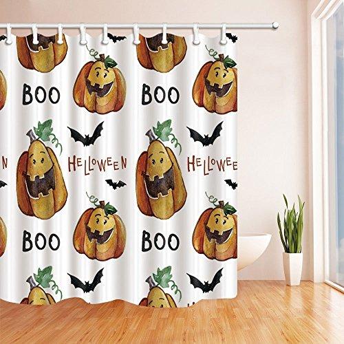 �rbis und Fledermäuse in Halloween Hintergrund Polyester-Duschvorhänge-Wasserdicht Bad Vorhang 179,8x 179,8cm Duschvorhang Haken im Lieferumfang enthalten (Halloween-hintergrund Mit Kürbis)