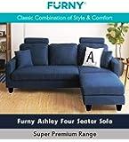Furny Ashley 3+1 Ottoman 4 Seater L Shape Interchangeable Sofa (Dark Blue)
