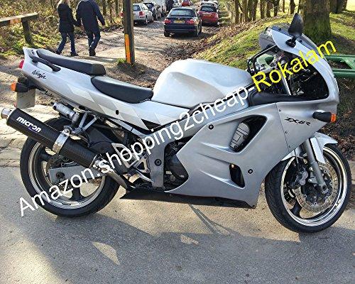 97 ZX 6R für Kawasaki Ninja ZX6R Cowling 1994 1995 1996 1997 ZX-6R silberne Motorrad-Verkleidung ()