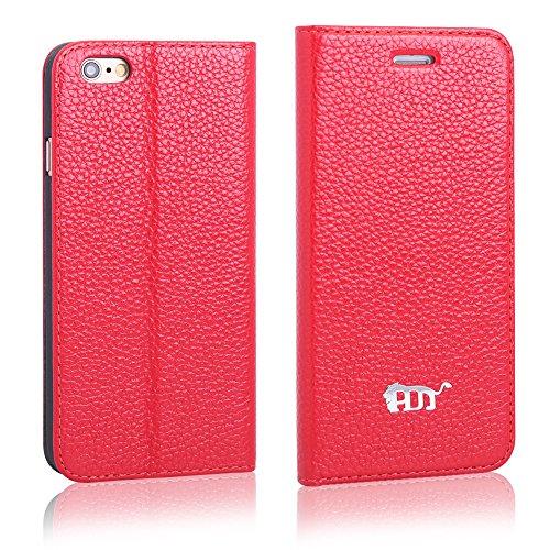 Pdncase iPhone 6 Genuine Leder Tasche Case Hülle Flip Style Schutzhülle für iPhone 6 Farbe Rot Rot