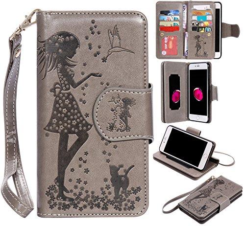 Ooboom® iPhone 5SE Coque Gaufrer Motif Fille PU Cuir Flip Housse Étui Cover Case Wallet Portefeuille Supporter Pochette pour iPhone 5SE - Rouge Gris
