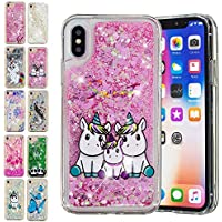 E-Mandala Funda Apple iPhone X/XS Liquido Glitter Brillante Bling Unicornio Familia Carcasa