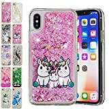 E-Mandala Coque Apple iPhone XR Paillette Liquide Brillante Licorne Famille Silicone Gel Housse Etui Case Cover Transparente avec Motif Dessin Bumper Antichoc
