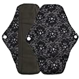 Saingace Wiederverwendbare Bambus-Tuch Waschbare Menstruations-Pad Mama Sanitary Handtuch Pad (M: 25 * 7cm, Schwarz)