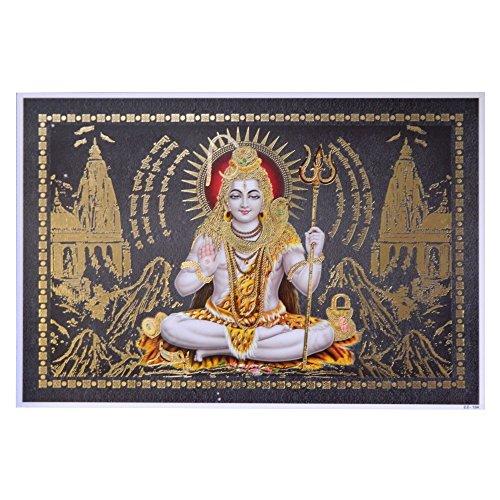 Bild Shiva 33 x 48 cm Gottheit Hinduismus Kunstdruck Plakat Poster Gold Indien Hochglanz Dekoration (Shiva-bild)
