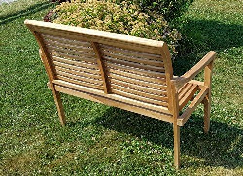 TEAK Design Gartenbank Parkbank Sitzbank 2-Sitzer Bank Gartenmöbel Holz sehr robust Modell: ALPEN120 von AS-S - 8