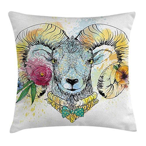 KLYDH Quirky Decor Throw Pillow Cushion Cover by, Ram Head with Horns and Blossoming Spring Flowers Bow Tie Dapper Fashion Art, Decorative Square Accent Pillow Case, 18 X 18 Inches, Multicolor Fashion Silk Bow Tie