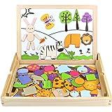Holz Puzzle, Zeichnung Schreibtafel Double Side Magnet Blocks Schwarz/Weiß Board Weihnachten Geschenk für Kinder 3 4 5 6