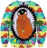 Pizoff Unisex Hip Hop Sweatshirts mit 3D Digital Print 3D Muster bunt Hund Katzen Wolf Y1759-A8-S