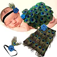 Hiyan And Henik Baby Photoshoot Props Costume Baby Peacock Outfit with Headband for Kids Parties Anniversaries…