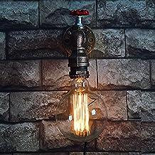 Aplique de pared de tubo de agua, SUN RUN Metal Faucet A?ada industrial de pared de luz con estilo retro para la barra, cocina, sala de estar y dormitorio, lámpara de socket E26