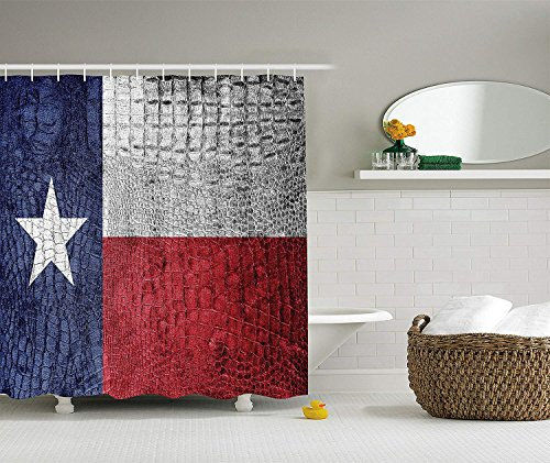 BUZRL Western Decor Collection, Texas State Flag Painted on Luxury Crocodile Snake Skin Patriotic Emblem, Polyester Fabric Bathroom Shower Curtain Set, 60x72 inches Extra Long, Burgundy Navy White (Painted Skin 2)