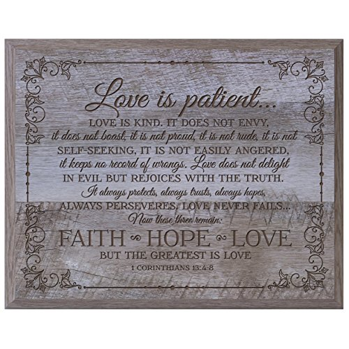 Love Is Patient Love Is Kind Faith Hope Love Massivholz Wandschild Einzugs Geschenke für Ihm Ihre Paar Wand Plaque 30,5x 38,1cm von Dayspring Meilensteine, holz, Barnwood, 12