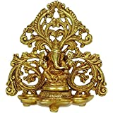 Kartique Brass Ganesh Diya with 6 Slot for Puja Room Fine Ganesha Wall Hanging Murti Gift Home Decor Deepak Oil Lamp Showpiece Feng Shui Diwali