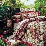 SL-DAM Baumwolle Full größe Bett bettwäsche Set,Hochzeit doppelbett Einzelne Quilt Deckel weich Atmungsaktive ALLERGIKER-GEEIGNET Luxus vierteilige bettwäsche-B Queen2