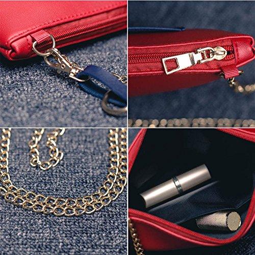 Espeedy Mode Frauen Pu-leder Kette Umhängetasche Satchel Handtasche Tote Crossbody Messenger Bags Pink